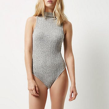 Grey soft ribbed turtleneck bodysuit - Tops - Sale - women