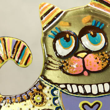 Handmade HAPPY CAT glass fusing techniques gift lovers mothers sister family amulet talisman