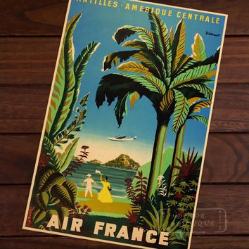 Air France Amerique Map Vintage Travel Poster Classic Retro Kraft Canvas Maps Wall Sticker Home Bar Posters DIY Decor Gift