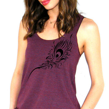 Peacock Feather - American Apparel  Racerback Tank Top - XS, Small, Medium, Large