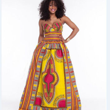 African Dashiki Yellow Bandeau Top and Maxi Skirt