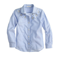 GIRLS' EMBELLISHED OXFORD BUTTON-DOWN