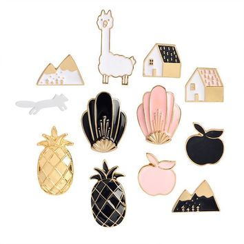 Trendy Black Pink Pineapple Apple House Fox Snow Mountain Shell Brooch Button Pins Denim Jacket Pin Badge Cartoon Fashion Jewelry Gift AT_94_13