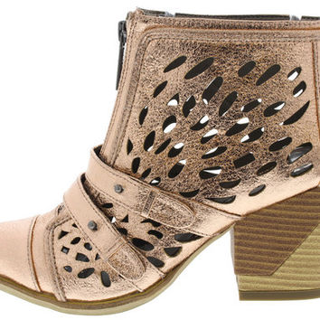 ANALIA ROSE GOLD LASER CUT ANKLE BOOT