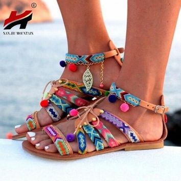 Plus Size 34-43 Ethnic Bohemian Summer Woman Pompon Sandals Gladiator Roman Strappy Em