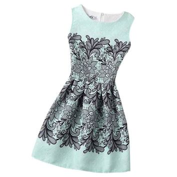 New A-Line dress for Women teenagers butterfly print sleeveless Ladies princess party dress 12 - 20 years 2017 Women's dress