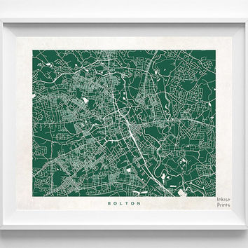 Bolton Map, England Print, Bolton Poster, England Poster, Wedding Gift, Office Wall Art, Dorm Decorations, Home Goods, Halloween Decor