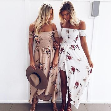 Summer Women Sexy Dress Beach Boho Style Long Dress Floral Print Vintage Chiffon White Maxi Midi Dresses