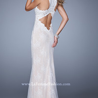 High Neck Lace Prom Dress by La Femme