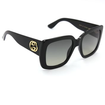 GUCCI 0141S Square Sunglasses Black Frame with Gray Gradient Lenses