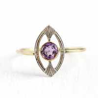Antique Amethyst Ring - 18k Yellow & White Gold .28 CT Purple Gemstone - Vintage Size 6 3/4 Art Deco 1920s Fine Stick Pin Conversion Jewelry