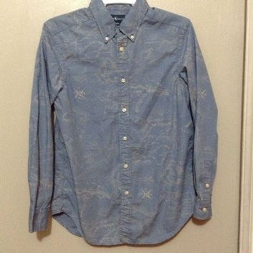 Polo By Ralph Lauren Boys 14-16 L Button Up Blue nautical compass long shirt