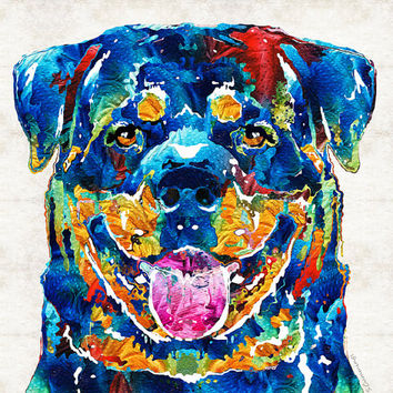 Colorful Rottie Dog Rottweiler Animal Art PRINT from Painting Primary Colors Abstract Cute Puppy Vet CANVAS Ready 2 Hang Large Artwork Big