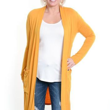 Mustard Open Long Cardigan