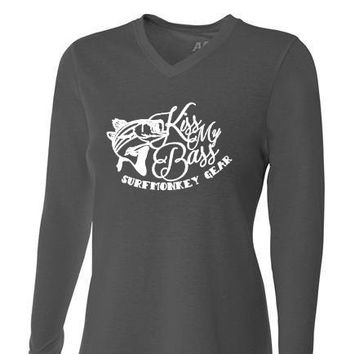 Womens Tri-blend Performance Shirt - Kiss My Bass