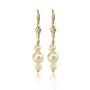 14k Yellow Gold Triple White Cultured Pearl Earrings, 30mm