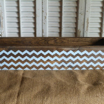 Chevron Pattern Wooden Box, Rectangular Box, Table Centerpiece, Wedding Gift, Hostess Gift, Shelf Decor, Bathroom Decor