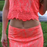 Diamonds In The Sky Two Piece Set: Neon Orange