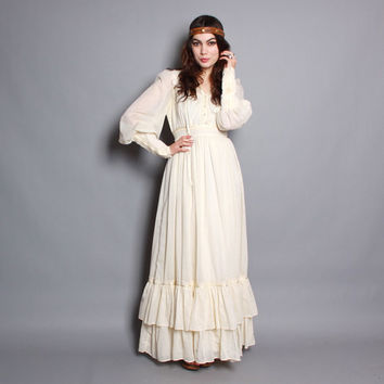 70s GUNNE SAX DRESS / Ivory Crochet Trim Gauze Cotton Maxi, m