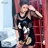 Dangal Women Two-piece Suits Mickey Dress Sequin Mesh Dress Sequin Tshirt Black Dress with Sequins 2 Piece Set Slim O Neck