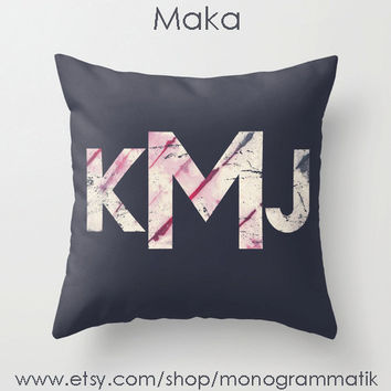 "Monogram Personalized Custom Pillow Cover ""Maka"" 16"" x 16"" Couch Art Bedroom Room Decor Initials Name Letters Slate Blue Grey Tie Dye"