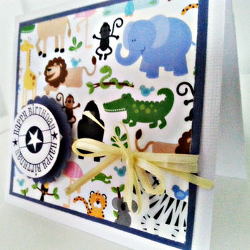 Kids Birthday Card. Animals and Fun. Unisex Greeting Card for that Special Kid. Ready to Ship.