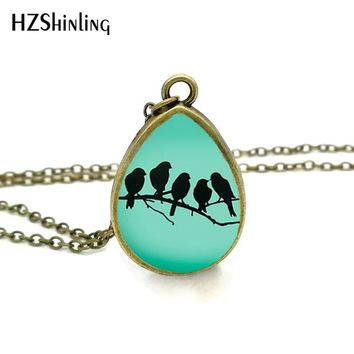 2017 New Birds on a Branch Necklace Love Birds Jewelry Tear Drop Pendant Handmade Chain Vintage Photo Necklaces