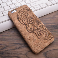 Retro Calaca (Skull) Cork Phone Case For iPhone 7 7Plus 6 6s Plus