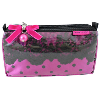"Polka Dot Romance Small Cosmetic Bag 7.25""""X4""""X2"""" Hot Pink: Hot Pink"