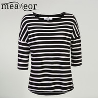 Meaneor Women Striped T-shirt  2016 Autumn 3/4  Batwing Sleeve Black White Tops Casual O-Neck Stretchy Fabric Loose Fit Top tee