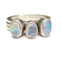 Rainbow Moonstone Stacking Ring Set of 3 Size 6