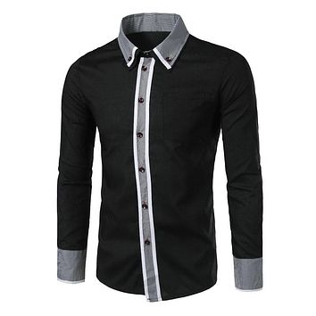 Double Collar Houndstooth Printed Long-Sleeved Men Shirt 1747