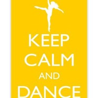 Rikki KnightTM Keep Calm and Dance On - Yellow Color Design iPhone 4 & 4s Case Cover (White Rubber with bumper protection) for Apple iPhone 4 & 4s