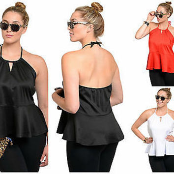 The Plus Size Halter Peplum Top