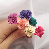Set of 6 hair  pins polymer clay flowers. Wedding pins. Set of 6 Bobby Pins . Pin with three flowers. You can choose any color in photo