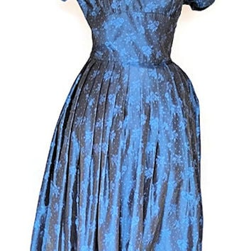 1950's Midnight Dotted Swiss Cocktail Dress