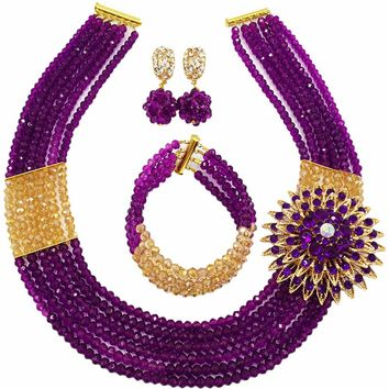 Latest Purple Gold AB African Costume Jewelry Set Nigerian Traditional Wedding Jewelry - Free Shipping
