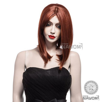 NAVIS Medium Straight Wind Red Wig Matt High-Temperature Synthetic Fiber Hair