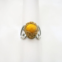 Wire Wrap and Bright Yellow Bead Ring, Adjustable Statement Ring, Cocktail Ring