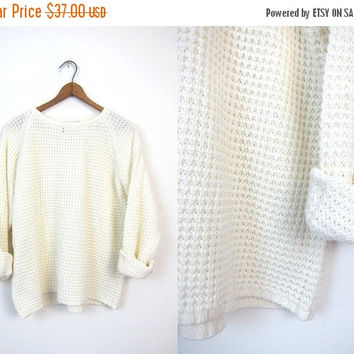 Chunky Knit Sweater Fishermen Sweater Off White Cream Slouchy Raglan Sleeves Preppy Pullover Thermal Loose Knit COZY Sweater Womens Large