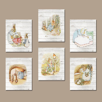 PETER RABBIT Wall Art Nursery Artwork Wood Grain Effect Child Boy Girl Storybook Modern Set of 6 Prints Gallery Baby Decor