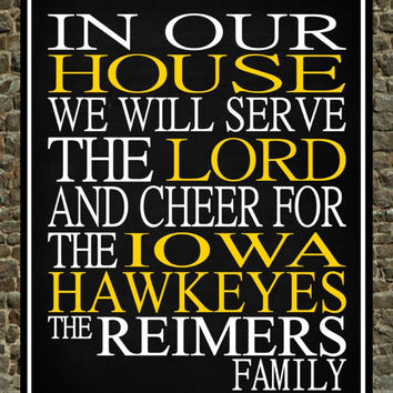 Customized Name Iowa Hawkeyes NCAA personalized family print poster Christian gift sports wall art - multiple sizes