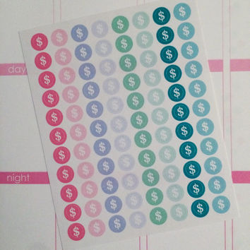 Mini Money Sign Circle Planner Stickers- 88 count