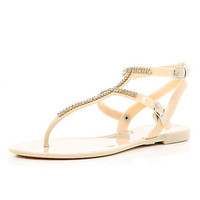 Light peach rhinestone jelly sandals - sandals - shoes / boots - women
