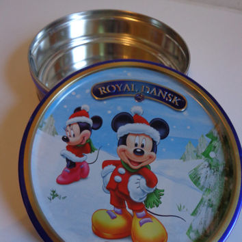 Disney Mickey and Minnie Mouse Winter Snow Scene Collectible Tin, Cookies Storage, Candy Box, Disneyana Souvenir