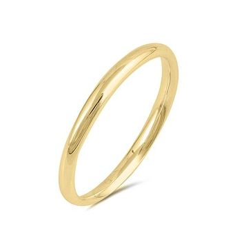 14K Yellow Gold 2mm Wedding Band Ring