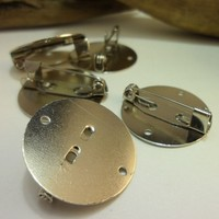 5 PCS Silver Tone Metal Brooch Base Setting with 20 mm Round Pad - HS-012