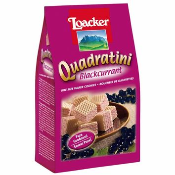 Quadratini Large Blackcurrant Wafer Cookies by Loacker 7.7 oz