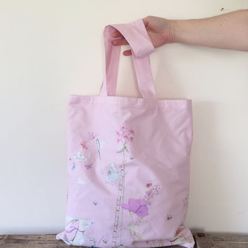 Tote Bag Pink Bunnies Patterned Pink Spring Market Bag with Cream Fabric Lining, Shopping Bag, Gift Ideas for Her