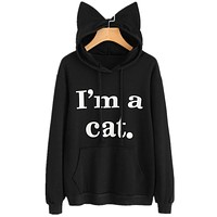 hirigin Japanese Kawaii Hoodies Women I am a cat letter Sweatshirts With Ears Cute Winter Lovely Hooded Hoodies female